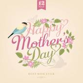 Happy Mothers Day, Greeting Card With Spring Flowers And Bird — Φωτογραφία Αρχείου