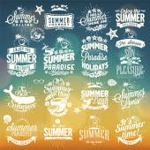 Retro elements for Summer calligraphic designs . Vintage ornaments . tropical paradise, sea, sunshine, weekend tour, beach vacation, bon voyage, adventure labels . vector set — Stockfoto