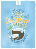 Vintage, Retro Summer Beach Party Poster. Vector Background. With Typography — Stock Photo