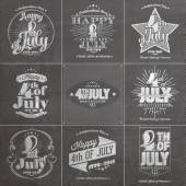 A set of nine vintage greeting cards on chalkboard with the wording : Happy 4th of July 1776-2014, Independence Day — Stock Photo