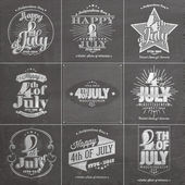 A set of nine vintage greeting cards on chalkboard with the wording : Happy 4th of July 1776-2014, Independence Day — Zdjęcie stockowe