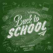 欢迎回到学校排印背景与学校图标元素的黑板上 — 图库照片