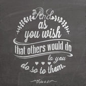 Quote On Blackboard With Chalk - Luke 6:31 - And as you wish that others would do to you, do so to them. — Stock Photo