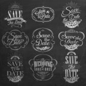 Save The Date, Wedding Invitation Vintage Typographic Design Elements On Chalkboard — Stock Photo