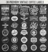 Set Of Vintage Retro Coffee Labels On Chalkboard. Coffee decoration collection . Set of calligraphic and typographic elements styled design, frames, vintage labels. Vector. — Foto Stock