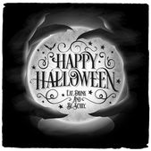 Vintage Happy Halloween Typographical Background With Crystal Ball — Stock Photo