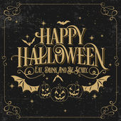 Vintage Happy Halloween Typographical Background With Pumpkins On Chalkboard — Stock Photo