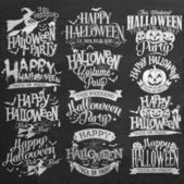 Halloween Decoration Set Of Calligraphic And Typographic Design Elements On Chalkboard — Stock Photo