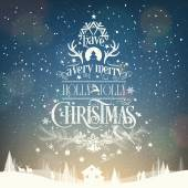 Have A Very Merry Holly Jolly Christmas, Vintage Typographical Background — Zdjęcie stockowe