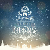 Have A Very Merry Holly Jolly Christmas, Vintage Typographical Background — Stockfoto