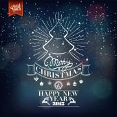 Merry Christmas And Happy New Year, Vintage Typographical Background — Stock Photo
