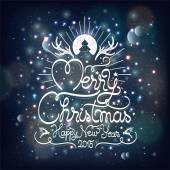 Merry Christmas And Happy New Year, Hand Drawn Vintage Typographical Background — Stock Photo
