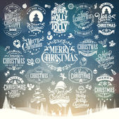 Hand Drawn Christmas And New Year Decoration Set Of Calligraphic And Typographic Design With Labels, Symbols And Icons Elements — 图库照片