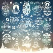 Hand Drawn Christmas And New Year Decoration Set Of Calligraphic And Typographic Design With Labels, Symbols And Icons Elements — ストック写真