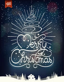 Merry Christmas Vintage Typographical Background With Hand Drawn Christmas Tree — Stock Photo