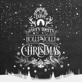 Have A Very Merry Holly Jolly Christmas, Vintage Typographical Background On Chalkboard — Fotografia Stock