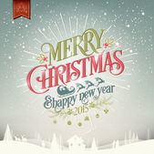 Merry Christmas And Happy New Year Vintage Christmas Background With Typography — Foto Stock