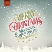 Merry Christmas And Happy New Year Vintage Christmas Background With Typography — Stock fotografie
