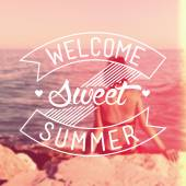 Welcome Sweet Summer Vintage Background — Stock Photo