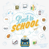 Back To School Typographical Background With Flat Icon Set, Vintage Ornaments, All for the beginning of the school, Concept of the high school object with teaching and learning symbol. vector set — Stockfoto