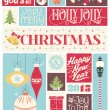 Colorful Vintage Christmas And New Year Typographical Poster With Christmas Ornaments — Stock Photo #59358311