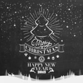 Merry Christmas And New Year Typographical Background On Blackboard With Chalk — Stock Photo