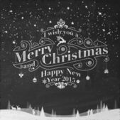 Merry Christmas And New Year Typographical Background On Blackboard With Chalk — Stockfoto