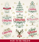 Hand Drawn Christmas And New Year Decoration Set Of Calligraphic And Typographic Design With Labels, Symbols And Icons Elements — Stock Photo