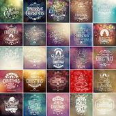 Colorful Christmas And New Year Typographical Background Set With Hand Drawn Christmas Ornaments — Stock Photo