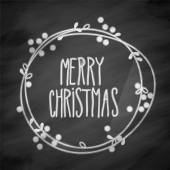 Merry Christmas Doodle Festive Wreath On Chalkboard — Foto de Stock