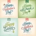 Tipografik bahar tatil - Sevgililer günü - St Patrick's Day - Paskalya - anneler günü ayarla. — Stok fotoğraf #64381831