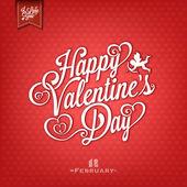 Tarjeta del día de San Valentín elegante en fondo rojo — Foto de Stock