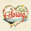 Hello Spring Typographical Background With Hand Drawn Flowers And Bird — Stock Photo #73657457