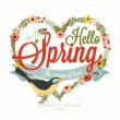 Hello Spring Typographical Background With Hand Drawn Flowers And Bird — Stock Photo #73657633