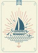 Summer Time Vintage Vector Background — Foto Stock