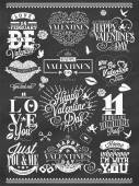 Set Of Happy Valentine's Day Hand Lettering - Typographical Background On Chalkboard With Ornaments, Hearts, Ribbon and Arrow — Stock Photo