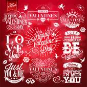 Set of Happy Valentine's Day Hand Lettering - Typographical Background With Ornaments, Hearts, Ribbon and Arrow — Stock Photo