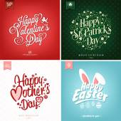 Spring and Summer Set with Mother's Day, Valentine's day, Saint Patrick Day And Easter Typographical Backgrounds — Stockfoto