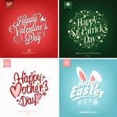 Primavera y verano con día de la madre, San Valentín, Santo Patrick día Pascua tipográficos antecedentes y — Foto de Stock