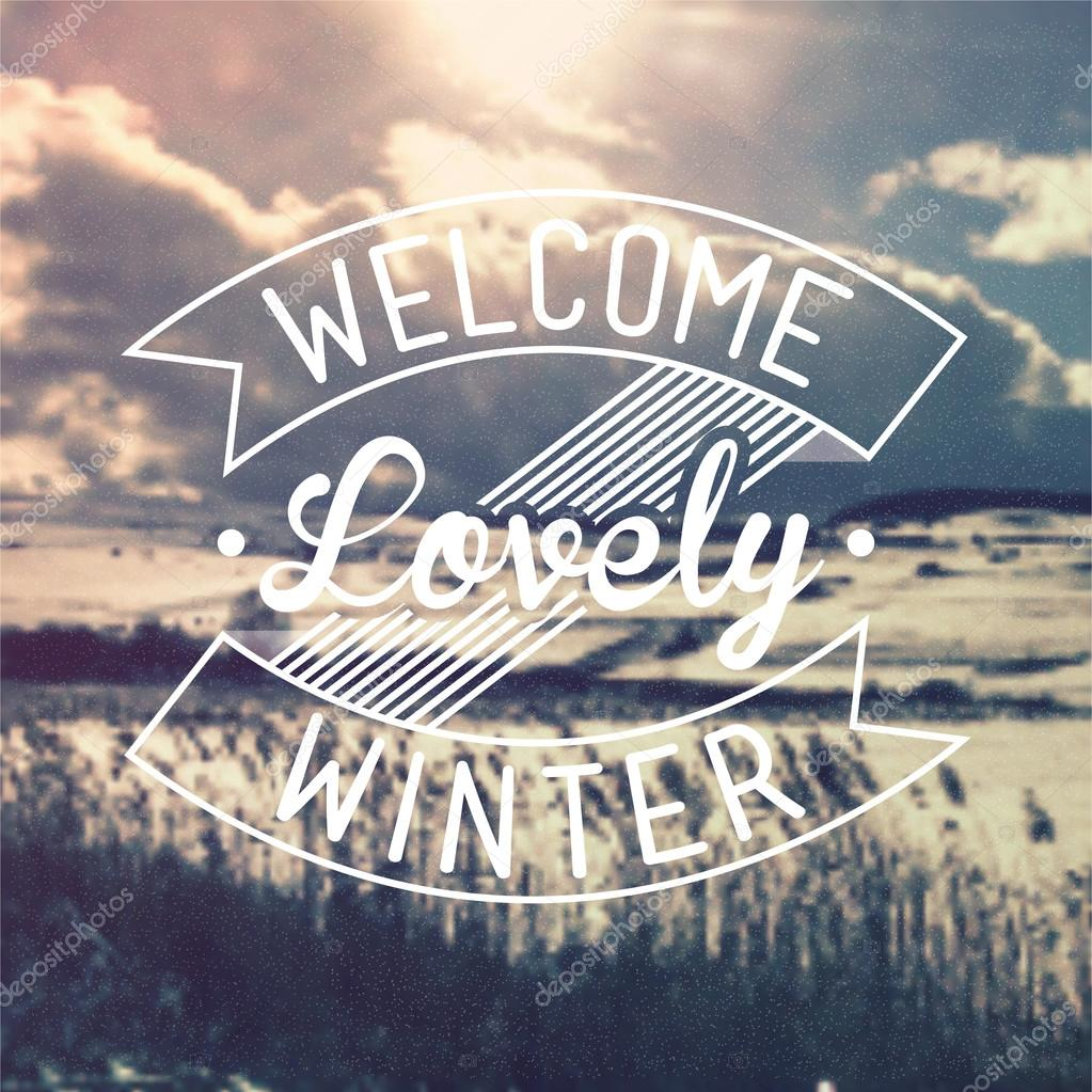 welcome lovely winter vintage vector background � stock