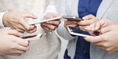People using cellphone — Stock Photo