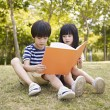 Asian children reading book outdoors — Stock Photo #75585263