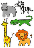 Funny wild animals — Stock Vector