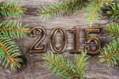 New Year frame with  fir decorations — Stock fotografie