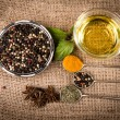 Cooking ingredients, spices, herds and oil — Stock Photo #55989191
