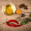 Cooking ingredients, spices, herds and oil — Stock Photo #55989207