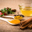 Cooking ingredients, spices, herds and oil — Stock Photo #55989213