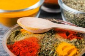 Close up cooking ingredients, spices, herds — Stock Photo