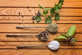 Overhead view of cooking ingredients, spices, herds — Stock Photo