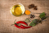 Cooking ingredients, spices, herds and oil — Stock Photo